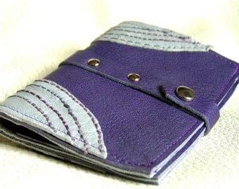 Purple and grey embroidered leather card case