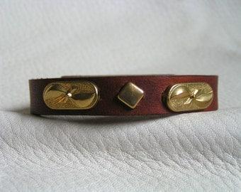 Bar and diamond brown cuff
