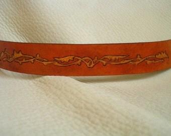 Golden vine leather cuff