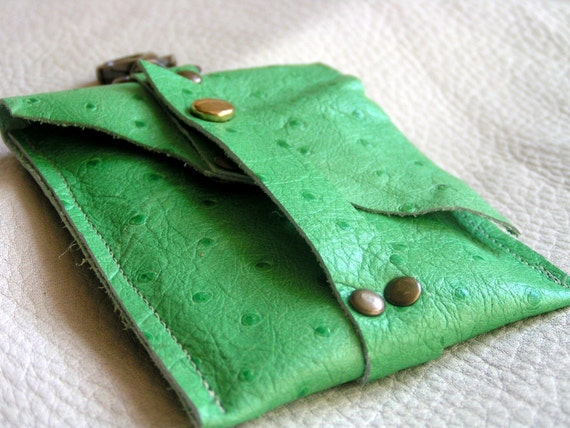 Lime green faux ostrich card case