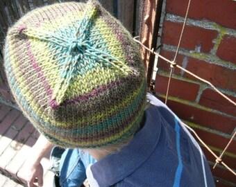 Kelpie Song - Green, Teal, Brown Multicolor handknit beanie