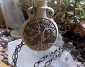 SACRED TREE Pottery Oil Bottle Necklace essential oils herbs ashes