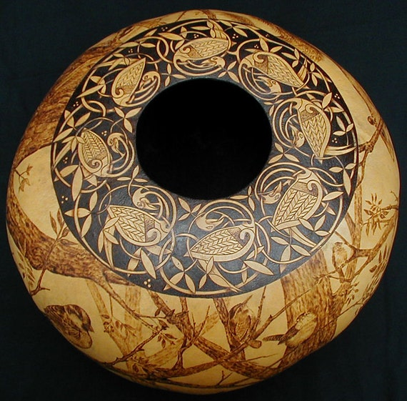 Tree of Life Celtic Rim very large pyrography gourd bowl art