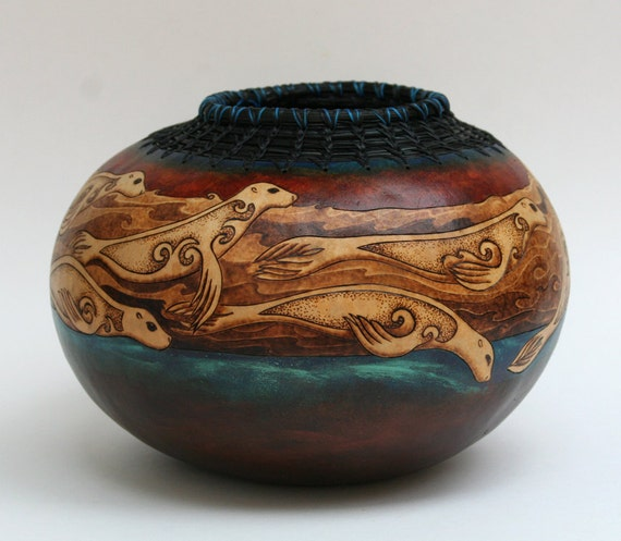 Selkie Swim - Celtic Seal Gourd Art Bowl Pine Needle Rim