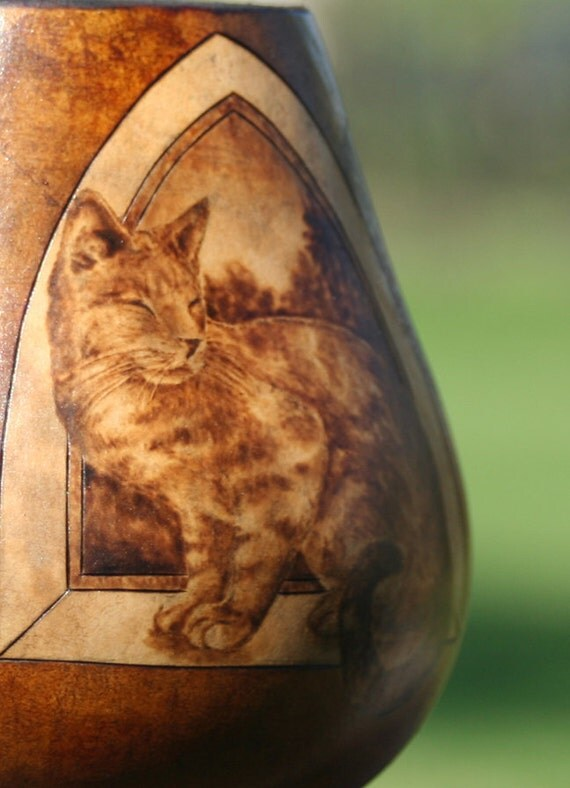 Cat in a Window Mini Gourd Vase