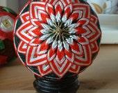 Red and White Temari Ornament