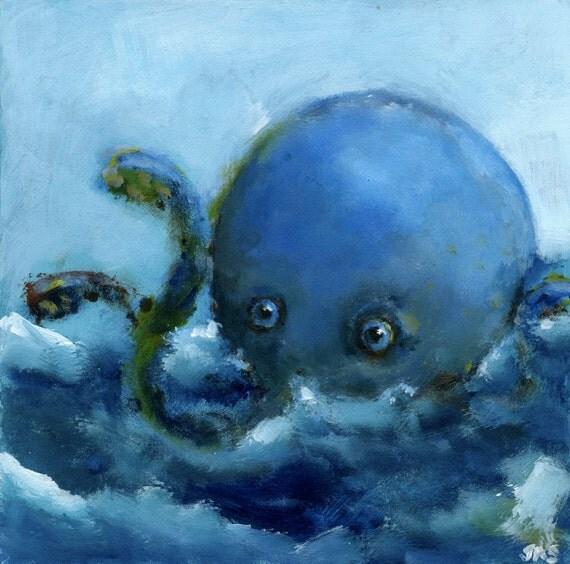 Little Kraken Makes A Joke Original Painting
