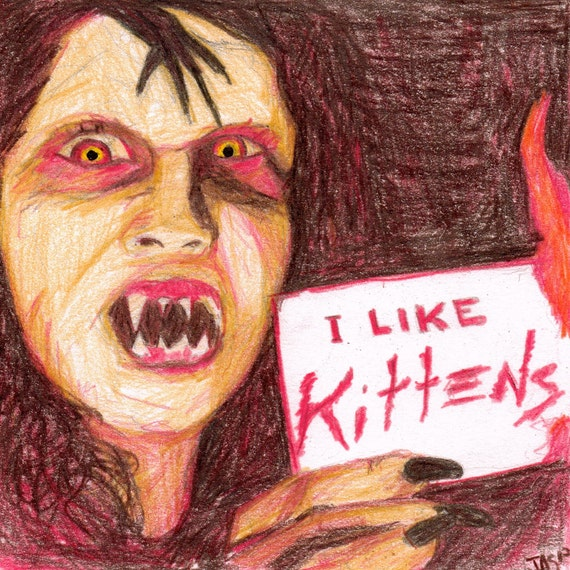 Night of the Demons or Kittens Original Color Pencil Drawing