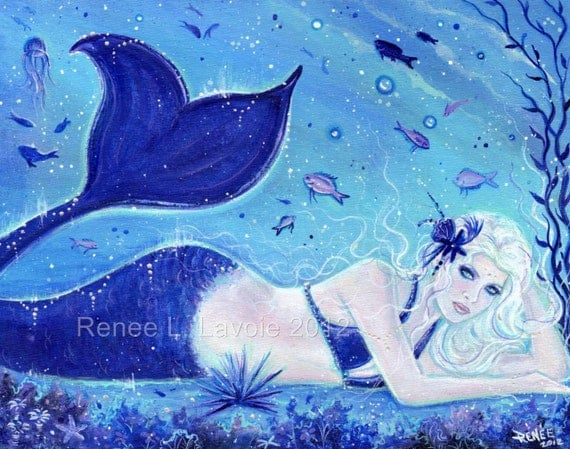 Aceo print 2.5x3.5inches CHERISSA Fantasy mermaid by Renee