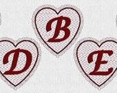 INSTANT DOWNLOAD Lacy Valentine Hearts Font Alphabet Redwork Machine Embroidery Designs