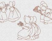 INSTANT DOWNLOAD Sunbonnet Sue Best Friends Redwork Machine Embroidery Designs