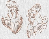 INSTANT DOWNLOAD Hen And Rooster Redwork Machine Embroidery Designs