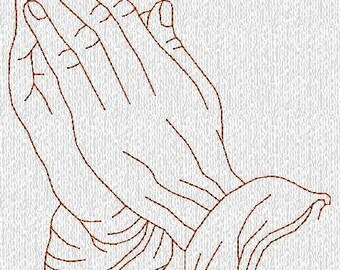 INSTANT DOWNLOAD Praying Hands Redwork Machine Embroidery Designs