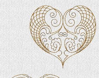 INSTANT DOWNLOAD Filigree Valentines Hearts Redwork Machine Embroidery Designs