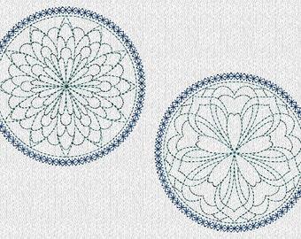 INSTANT DOWNLOAD Quilt Block Circles Redwork Machine Embroidery Designs