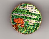 Found poetry brooch pin, unique collage jewelry orange trees wood