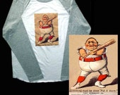 Mens T-Shirt With Antique Baseball Advertising Card Graphic