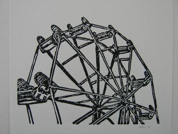 Ferris wheel linoleum block print