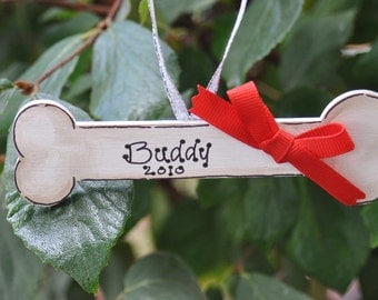 Dog Bone Personalized Christmas Ornament Handpainted