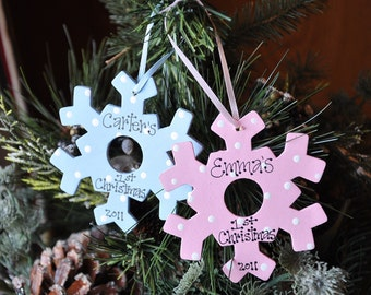 Baby's 1st Christmas 2016 Boy or Girl PERSONALIZED Snowflake Ornament