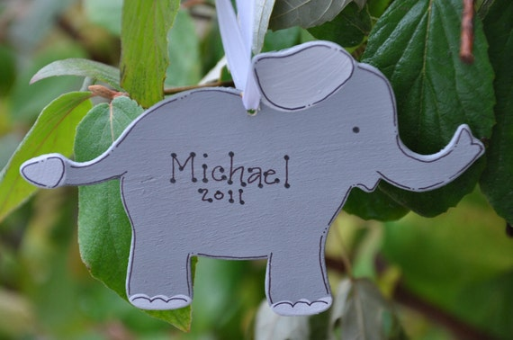 ELEPHANT Christmas Ornament -Personalized and Hand Painted