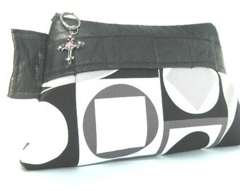 Geometric Abstract Squares and Circles  Zipper Pouch, Clutch Bag with Leather,Handbag