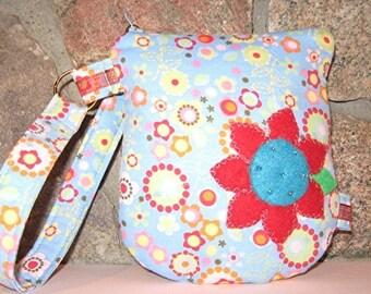 Blue Flowers and Circles Ipod Cellphone Passport ETC Wristlet Bag