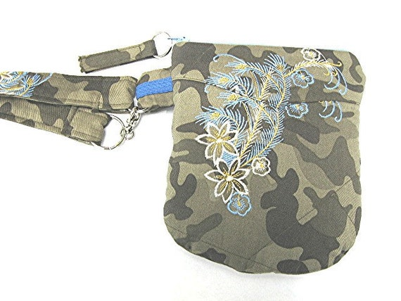 Camoflauge and Flowers Ipod Cellphone Passport Camera ETC Wristlet Bag