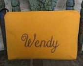 Custom Cosmetic  Zippered Makeup Bag Ultra Suede Monogram with Font Samples