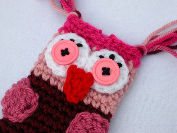 Mixed Berries Owl Pouch for Cell Phone or Camera  (Crochet Cozy, Case, Cover, Holder)