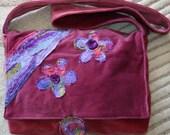 Plum reclaimed velvet messenger bag
