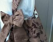 Handbag - Tote Bag -Brown Flower Bag - Purse - Handmade Canvas Bag - Book Bag - LAST ONE - School Bag - Bags and Purses - Bag with Bow