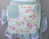 Aprons - Half Aprons - Shabby Chic Apron - Roses and Pink Dots Handmade Apron - Aprons with Pockets -  Apron
