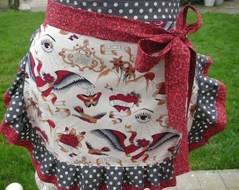 Aprons - Womens  Tattoo Aprons - The Tattoo Parlour Apron - Handmade Apron - Tattoo Fabric Aprons - Annies Attic Aprons - Heart Tatoo Aprons