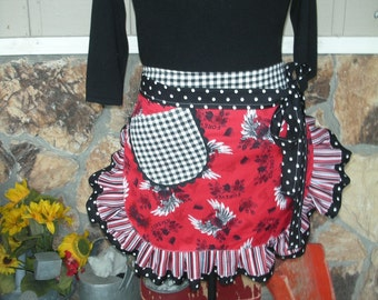 Tattoo Aprons - Womens Half Apron - Tattoos and Roses Handmade Apron - Red and Black Tattoo Apron - Annies Attic Aprons - Aprons with Skulls