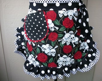 Aprons - Womens Half Aprons - Skulls and Roses Apron - HANDMADE  Aprons - Aprons with Skulls - Annies Attic Aprons - Tatyoo Palour Aprons