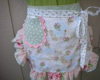 Aprons - Womens Half Aprons - Wedding Aprons - Bridal Aprons - Here Comes The Bride - Shabby Chic Handmade Apron - AnniesAttic Aprons