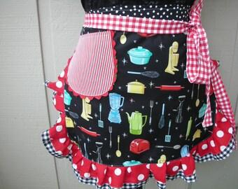 Aprons - Fiesta Ware Womens Half Aprons - Ruffled Retro Print Aprons - Dot's Diner Apron - Apron with Pockets - Handmade Aprons