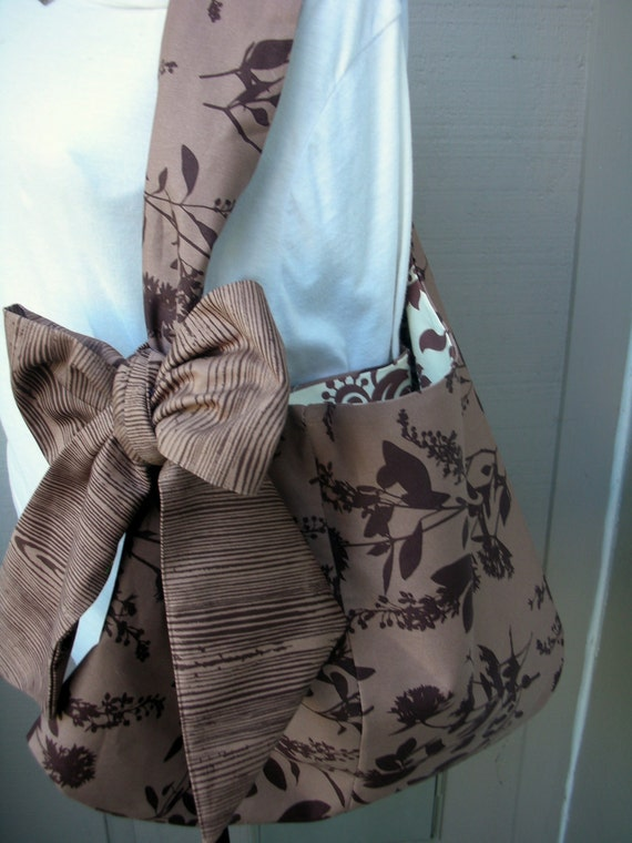 Handbag - Tote Bag -Brown Flower Bag - Purse - Handmade Canvas Bag - Book Bag - LAST ONE - School Bag - Bags and Purses - Bag with Bow