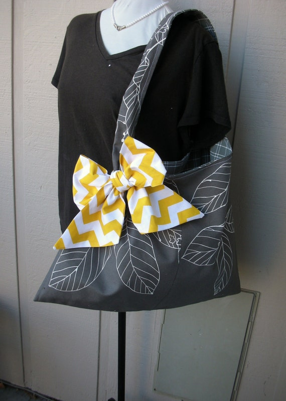 Handbag -  Tote Bag - Book Bag - Handmade Canvas Bag - Market Bag - Canvas Bag - Chevron Fabric - Library Bag
