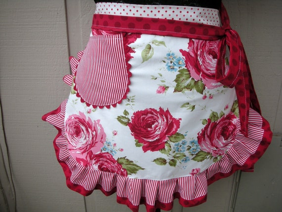Aprons - Womens Half Aprons - Pink rose Aprons - Wild Rose Apron - Handmade Aprons - Red and White Rose Aprons