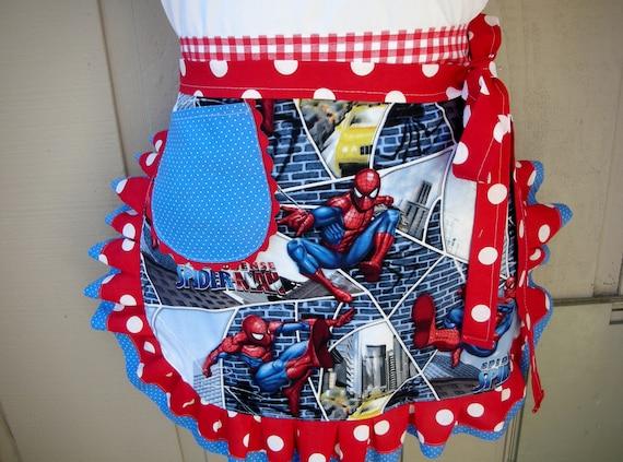 Spiderman Aprons - Womens Aprons - Spider Man Apron - Super Hero Apron - Womens Half Spider Man Apron - Annies Attic Aprons