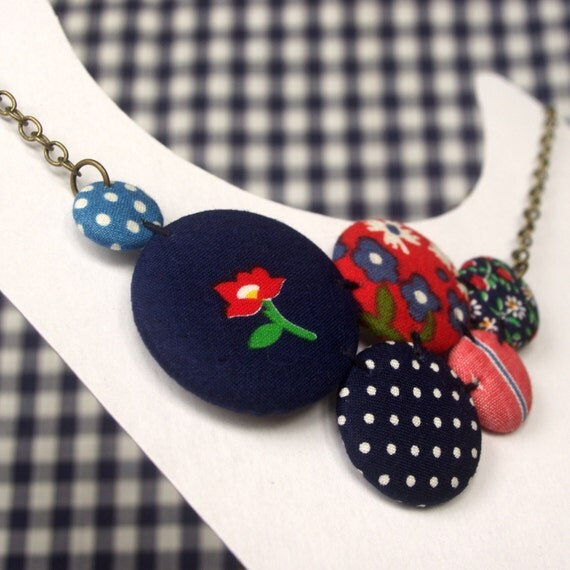 Button Cluster Necklace in Red, White and Blue