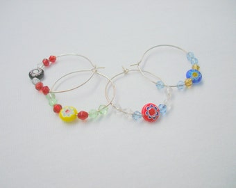 Tiny Treasures - millefiori bead handmade wine charms