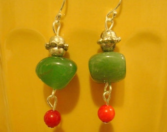 Take a Chance  - beaded green aventurine dangle earrings