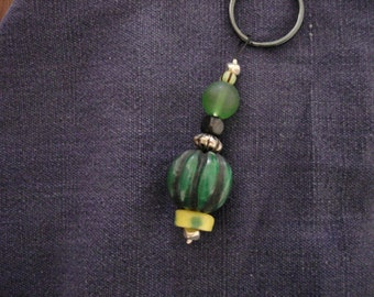 Easy Being Green handmade beaded  keychain