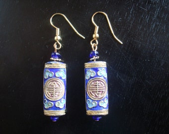 Cobalt blue and gold cloisonne tube earrings - Asian Elegance