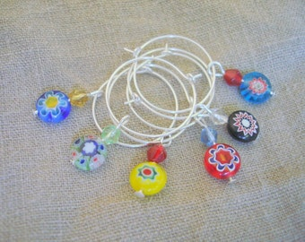 Millefiori bead wine charms