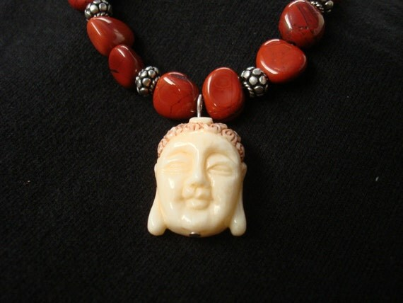 Beautiful Buddha - Buddha pendant carnelian beaded necklace, carved asian necklace, rust beads