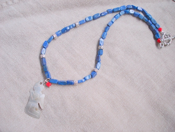 I Need a Miracle - beaded lapis Mexican milagro folk art pendant necklace